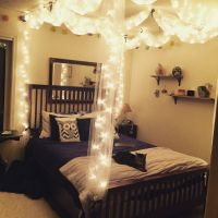 DIY Bed canopy with lights | DIY | Pinterest | Canopy ...