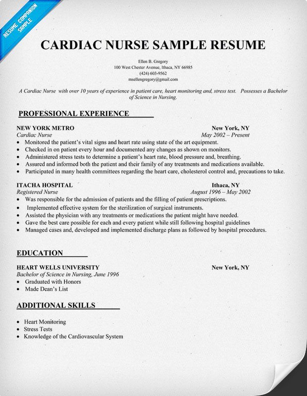 Cardiac Nurse Resume Sample resumecompanioncom