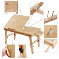Solid Wood Foldable Notebook Laptop Table, Adjustable ...