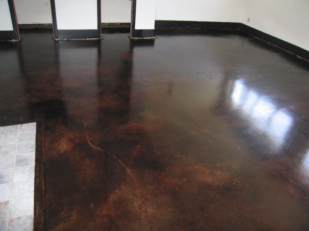 dark concrete stained floor