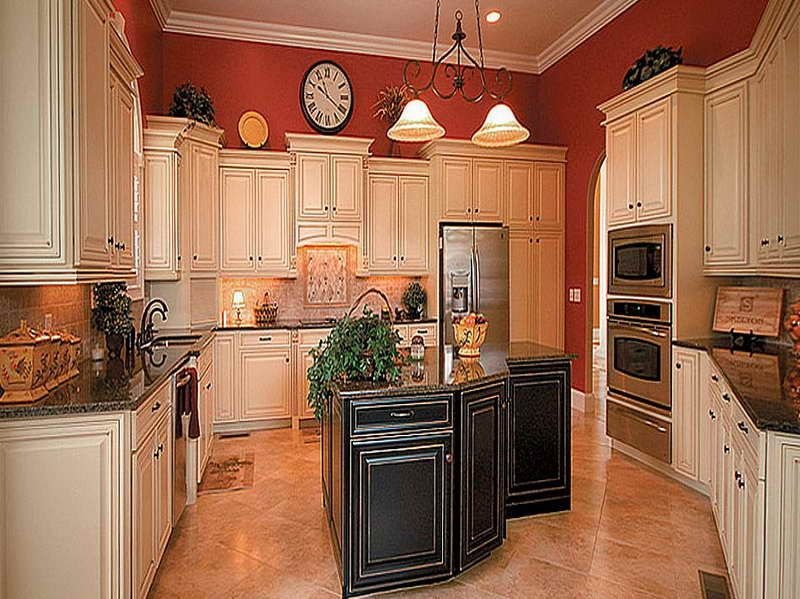 Pictures of Antiqued Kitchen Cabinets with red wall