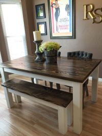 Solid wood farmhouse kitchen table with matching wooden ...