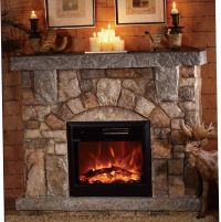 Depiction of Stone Electric Fireplace for Modern Rustic ...