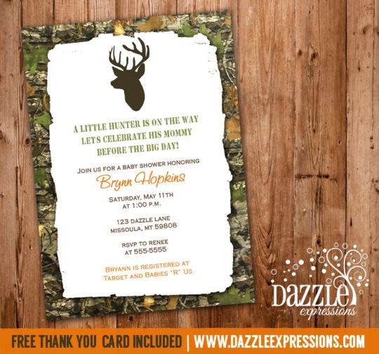 Printable Mossy Oak Camo Hunting Baby Shower Invitation Deer