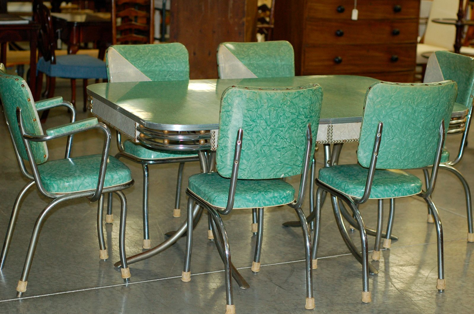 50s Table And Chairs Chrome Vintage 1950 39s Formica Kitchen Table And Chairs