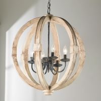 Distressed Wood Sphere Chandelier | Outdoor chandelier ...