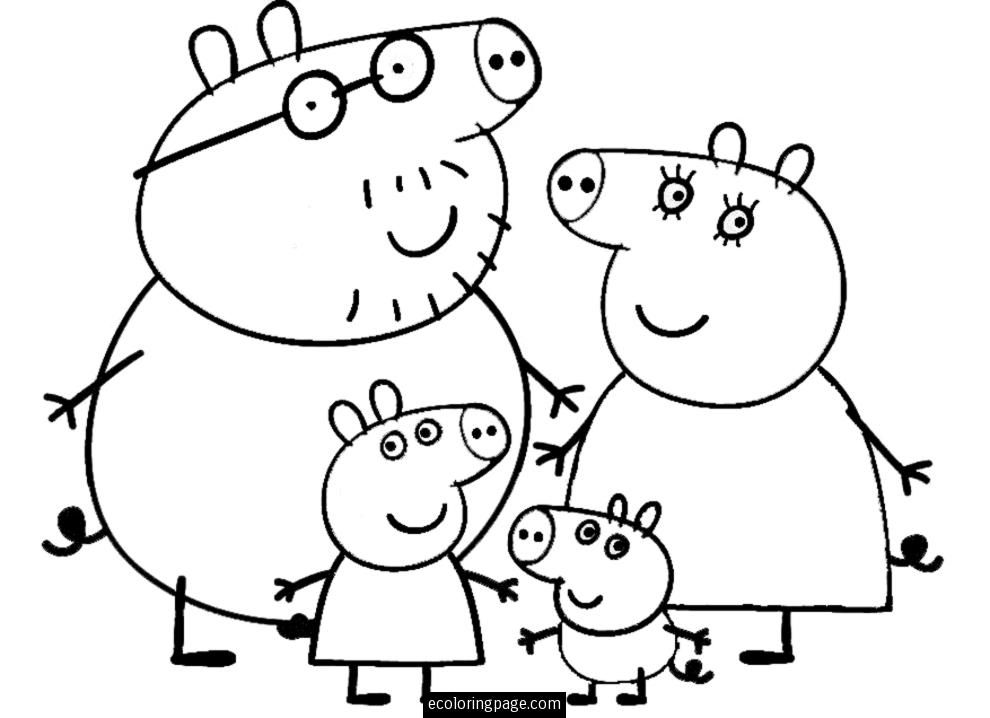 Peppa Pig and Family Coloring Page for Kids Printable