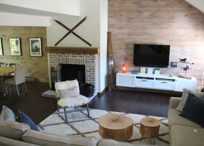 Rustic modern living room mount snow ski house vacation rental dover vermont also