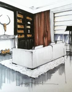 Line botwin home illustrations great mix of modern and contemporary detail around lounge gives  effect also pin by on pinterest sketches rh