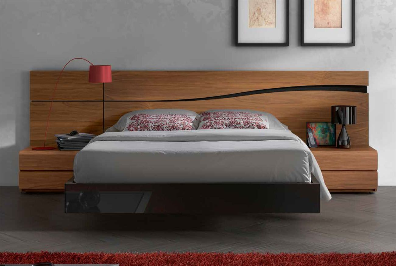 Lacquered Made In Spain Wood High End Platform Bed With