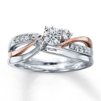 Diamond Bridal Set|3/8 ct tw Round-cut|14K Two-Tone Gold ...