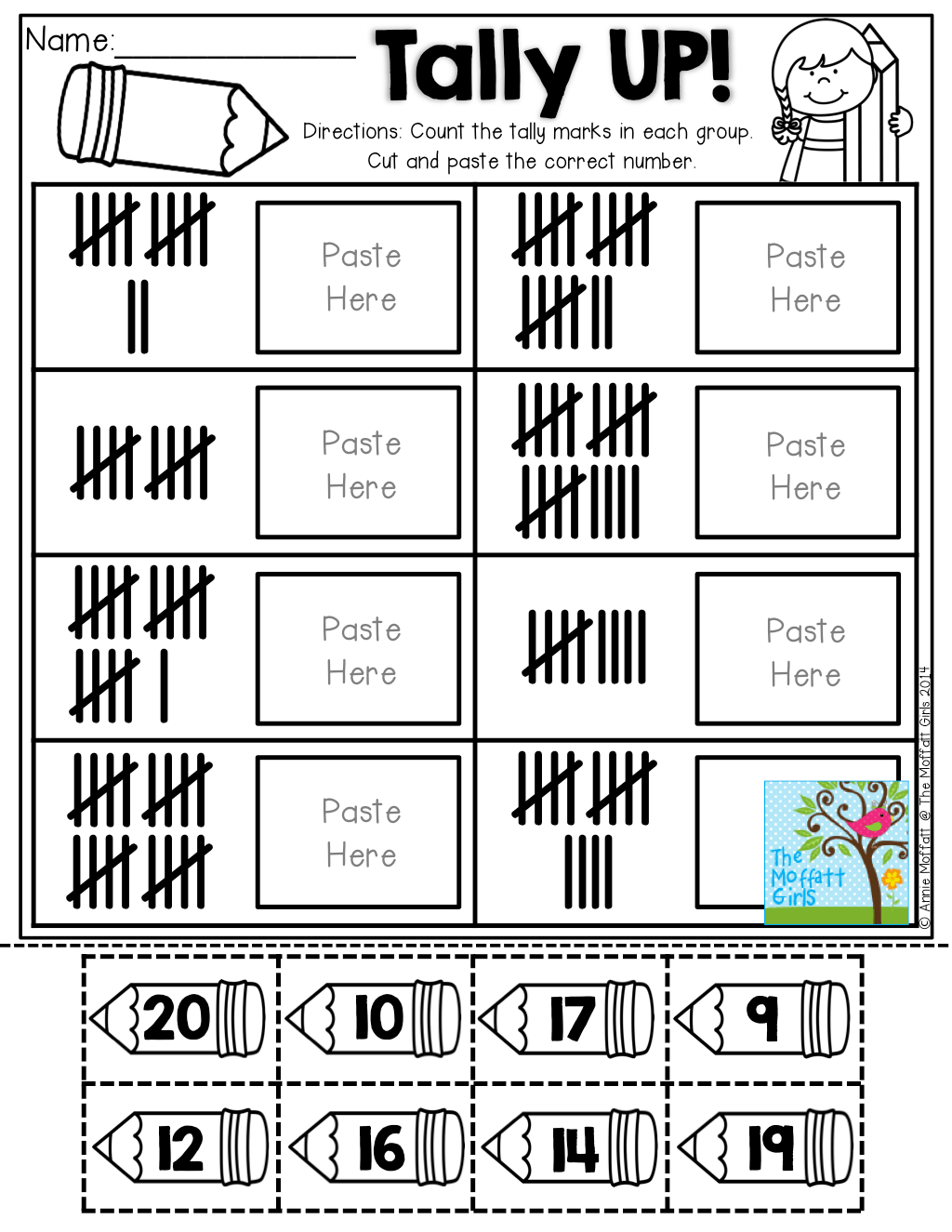 Tally UP! Count, cut and paste the number that matches the
