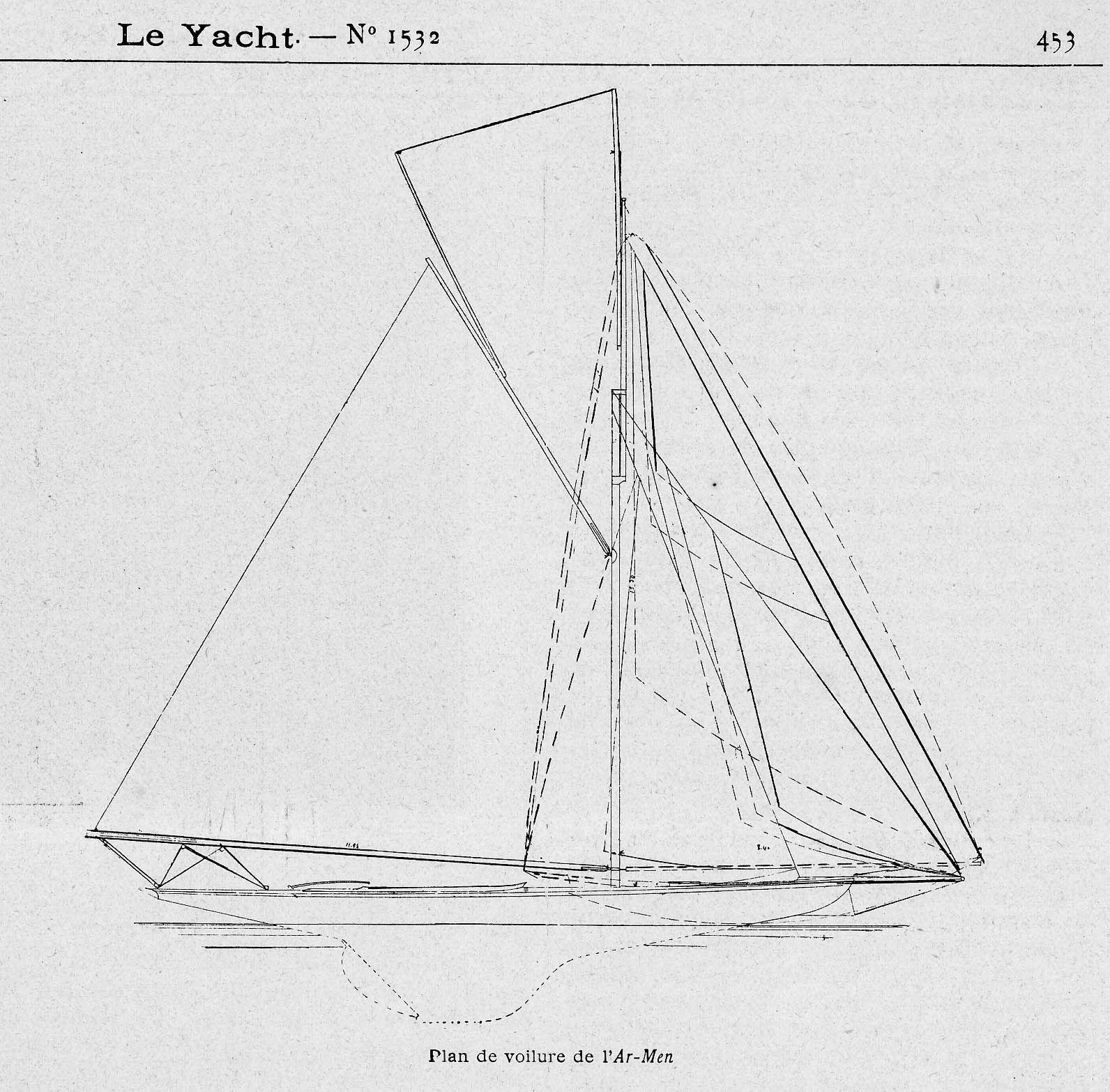 Plan De Voilure Du Yacht Armen Dessine Par L Architecte