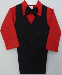 Baby and infants red suit features a black pinstripe vest ...