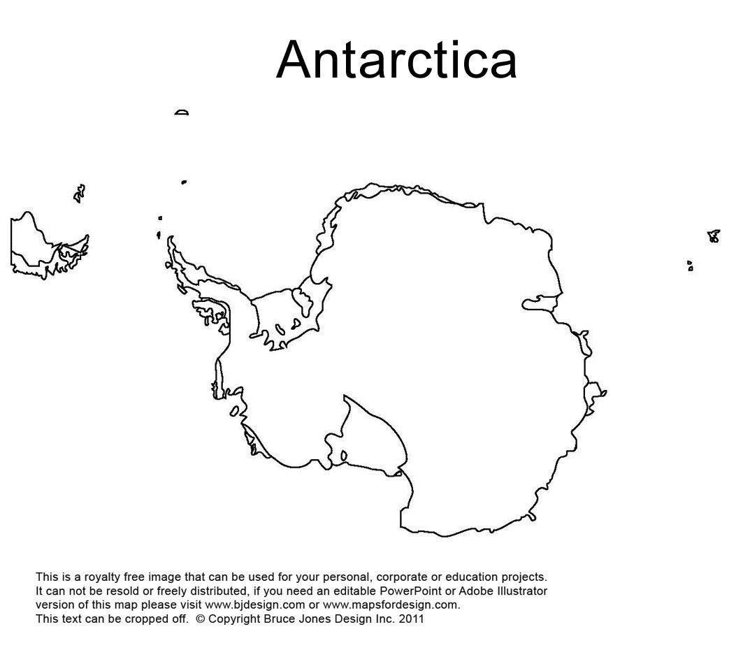 Antarctica South Pole Outline Printable Map Royalty Free