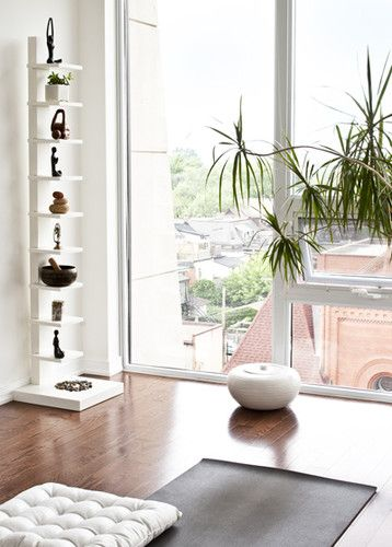 Meditation room design pictures remodel decor and ideas via also love the bookshelf rh pinterest
