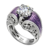 Diamond and purple enamel engagement ring. So unique! How ...