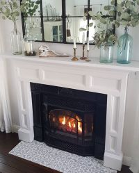 A DIY stenciled fireplace hearth floor using the Augusta ...