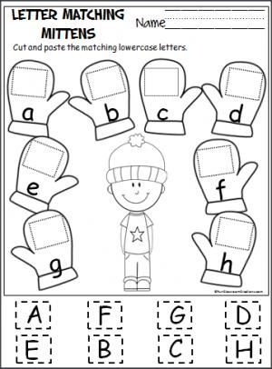 Free cut and paste letter matching activity for the winter