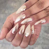 Gold glitter rhinestone stiletto nails nailart nails ...