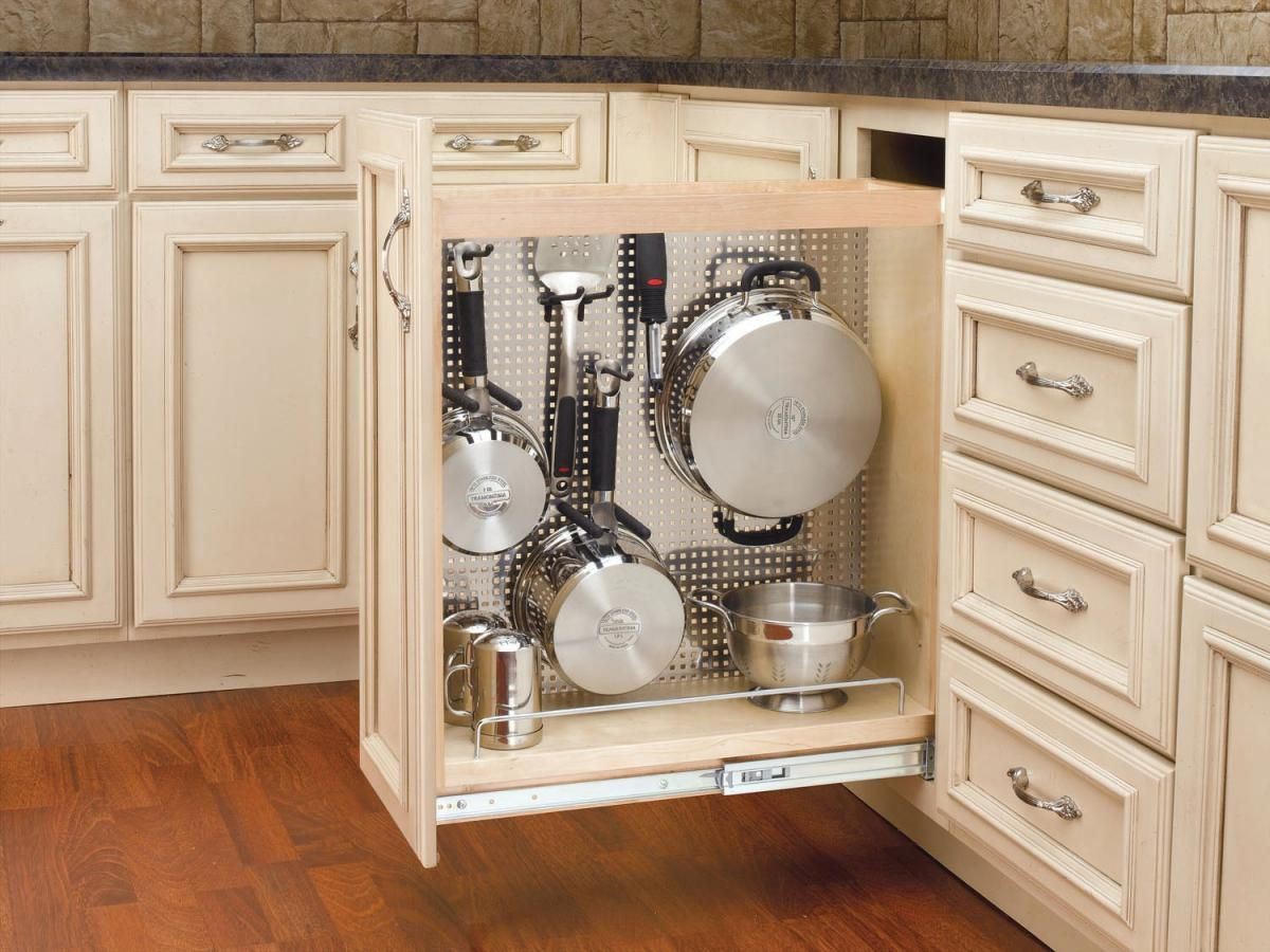 Great idea for narrow lower cupboard beside stove DIY as
