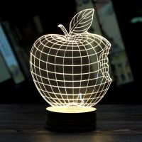 MOZA Home Decor 1Piece 3D APPLE NIGHT LAMP Acrylic Wood ...