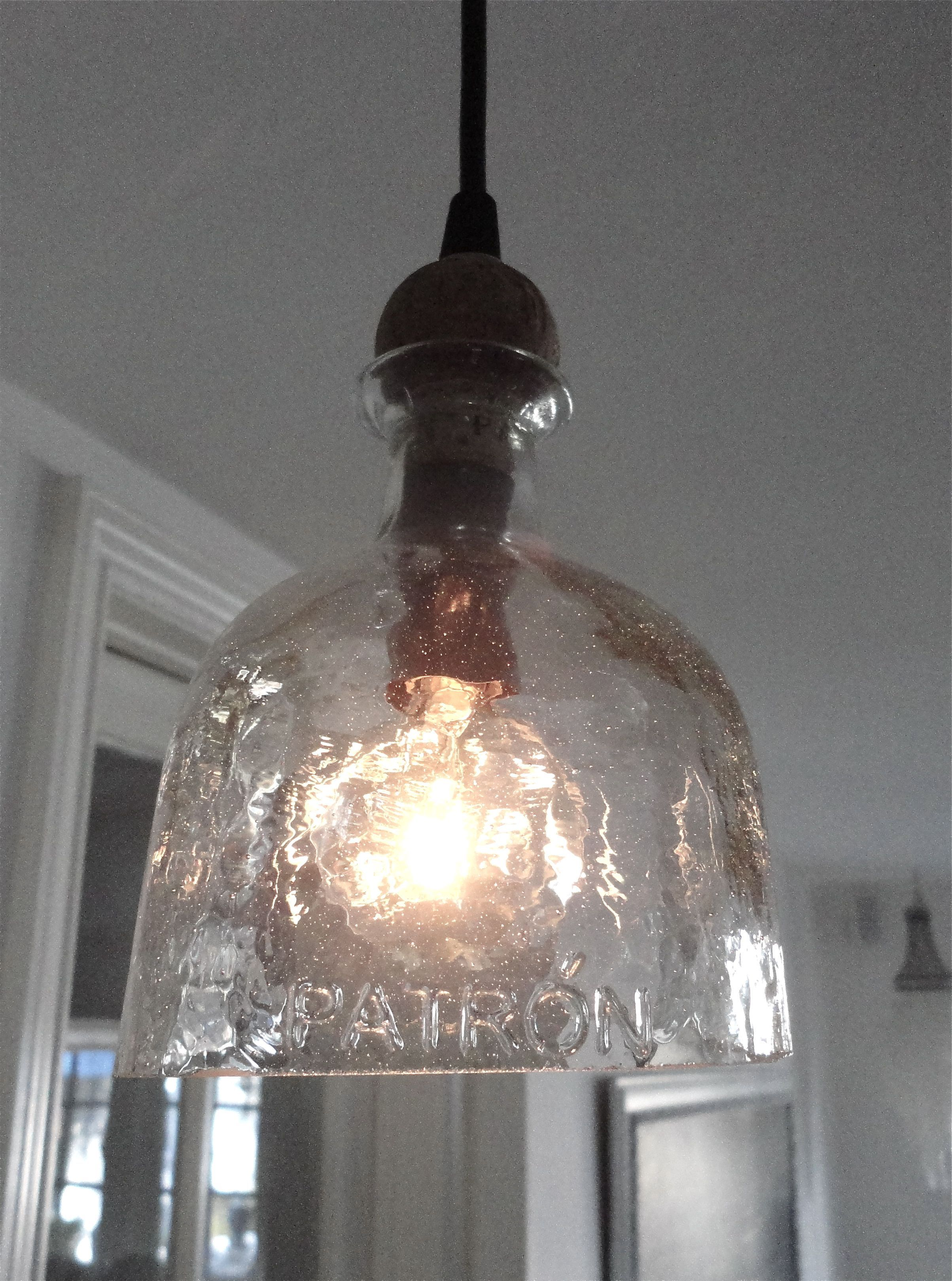 Patron Bottle Hanging Light pendant pretty cool  Next on my todo list  Pinterest