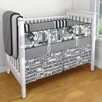 Carousel Designs black and white custom crib bedding ...