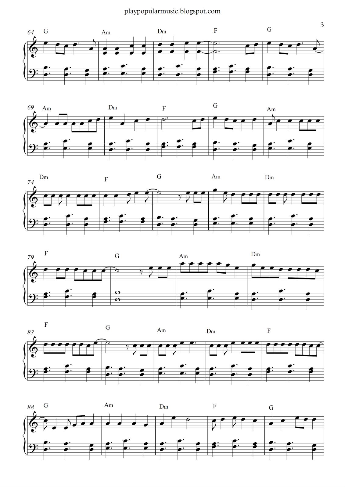 Free Piano Sheet Music Shape Of You Ed Sheeran Your