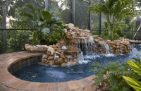 pool with grotto waterfall | Very Small Backyard Pools ...