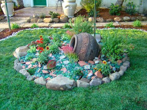 Recycled Tumbled Glass Mixed With Broken Tile Is Used As Mulch In