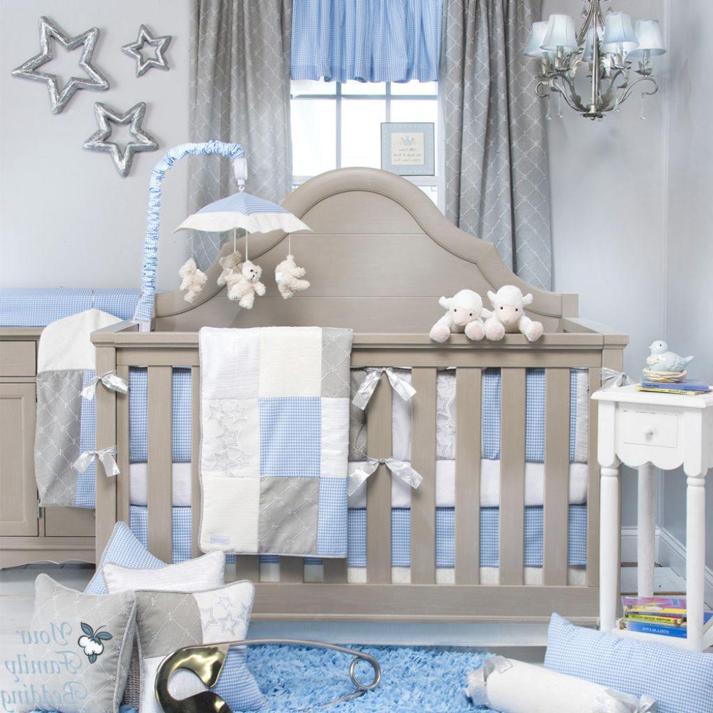 Tasteful Baby Blue and Grey Nursery Room with Grey Crib