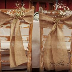 Burlap Chair Sashes Barber Chairs Ebay Set Of 2 Rustic Wedding Decor Via