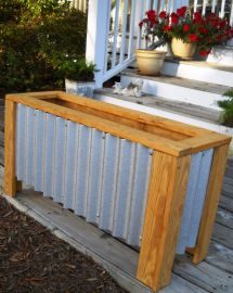 Diy Corrugated Steel Wood Planter Box Home Heaven