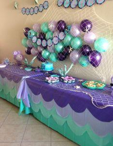 Ideia legal para festa pequena sereia ou fundo do mar scalloped table cloth and back girl birthday party themes th also rh in pinterest