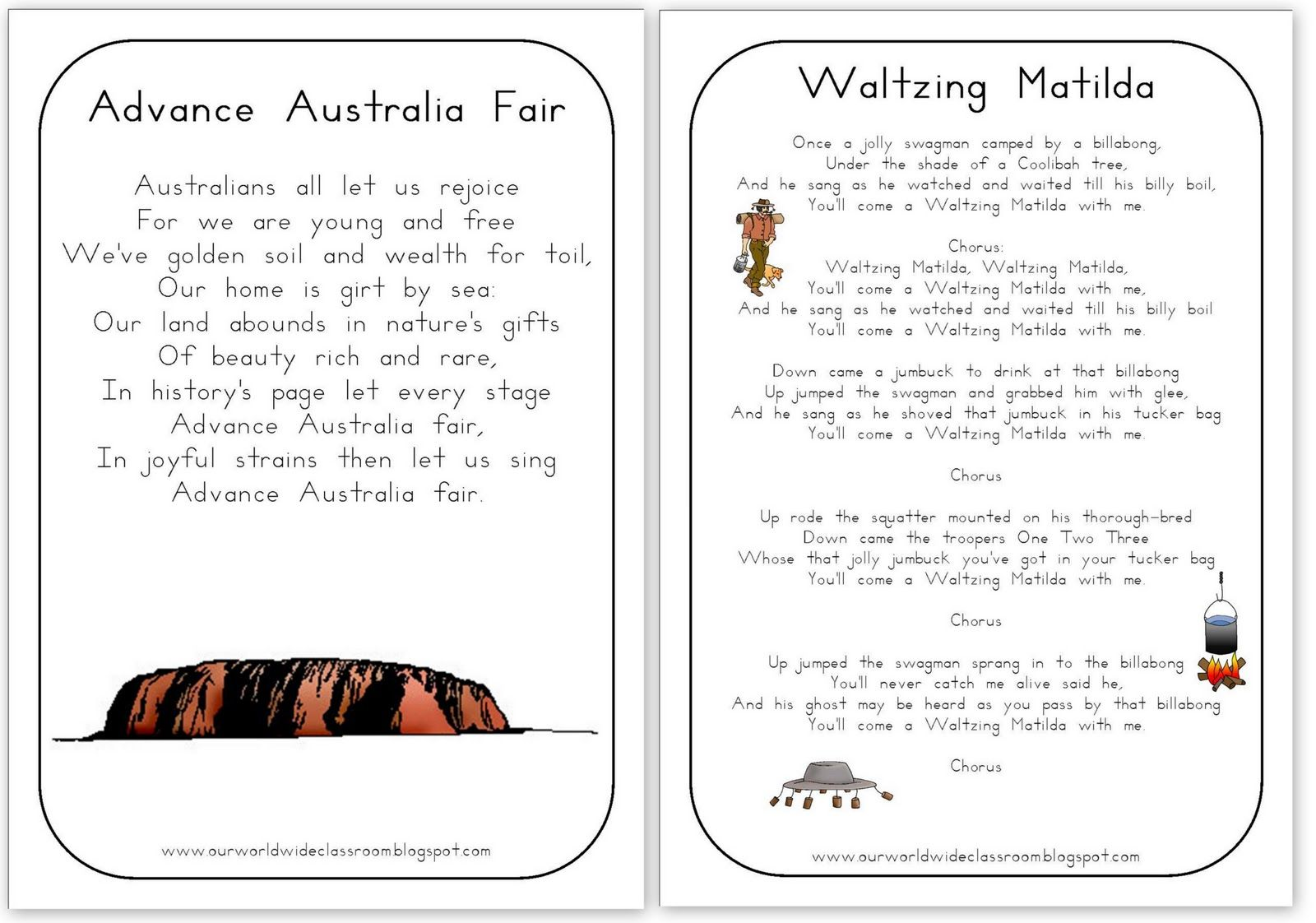 Free Printable Australia Day Learning Packet Advance Australia Fair Waltzing Matilda