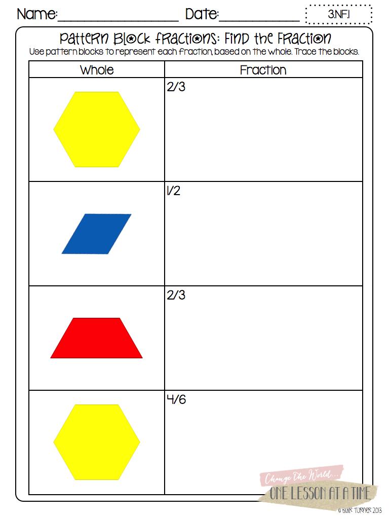 pattern block fraction worksheets