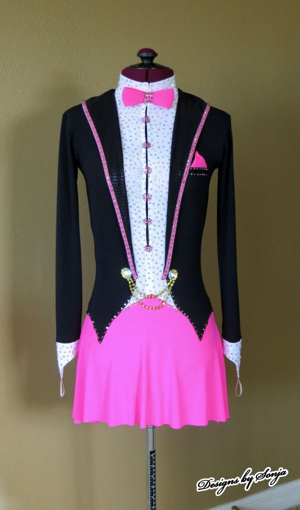 Custom Black Pink Ice Skating Dress Designed And