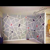 DIY.. green frog tape wall paint design. took about 4-6 ...