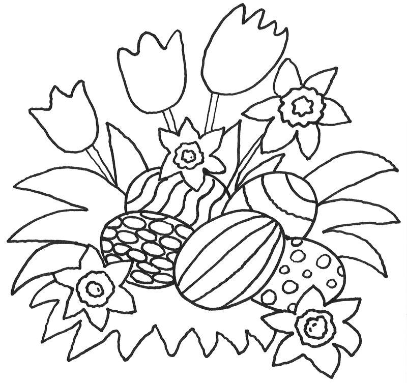 Ausmalbild Ostern Kostenlose Malvorlage Blumen und