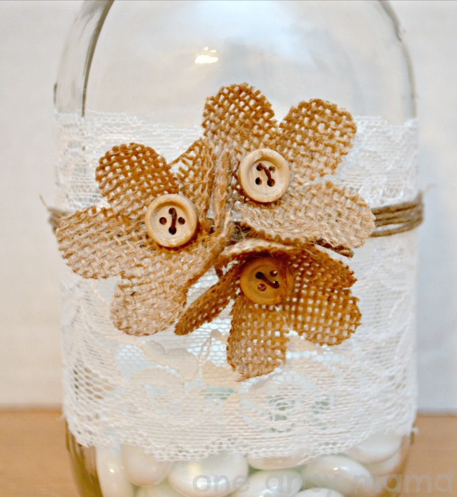 Burlap & Lace Mason Jar Vase using the David Tutera Casual