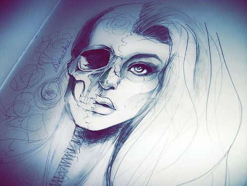 20 Half Face Skull Tattoos For Girls Ideas And Designs