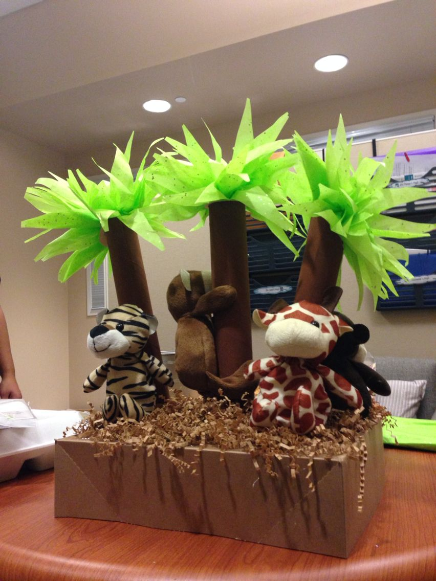 Jungle themed baby shower centerpiece. Made out of