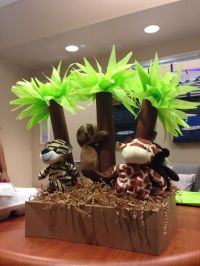 Jungle themed baby shower centerpiece. Made out of ...
