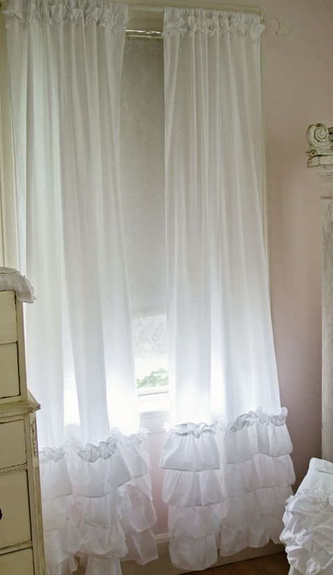 Ruffled Curtain Panels Shabby Chic Style Curtains White Ruffles