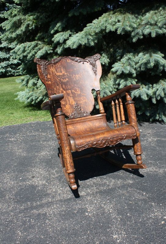 Vintage Antique Oak Tiger Wood Rocking Chair Things Of