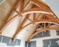 Douglas fir arched-chord king-post trusses and corbels ...