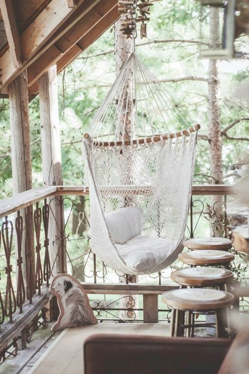 Rustic Porch with Deck Railing, Porch swing, Hammock chair