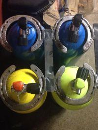 Scuba tank holder made with horseshoes   Horseshoe Art ...