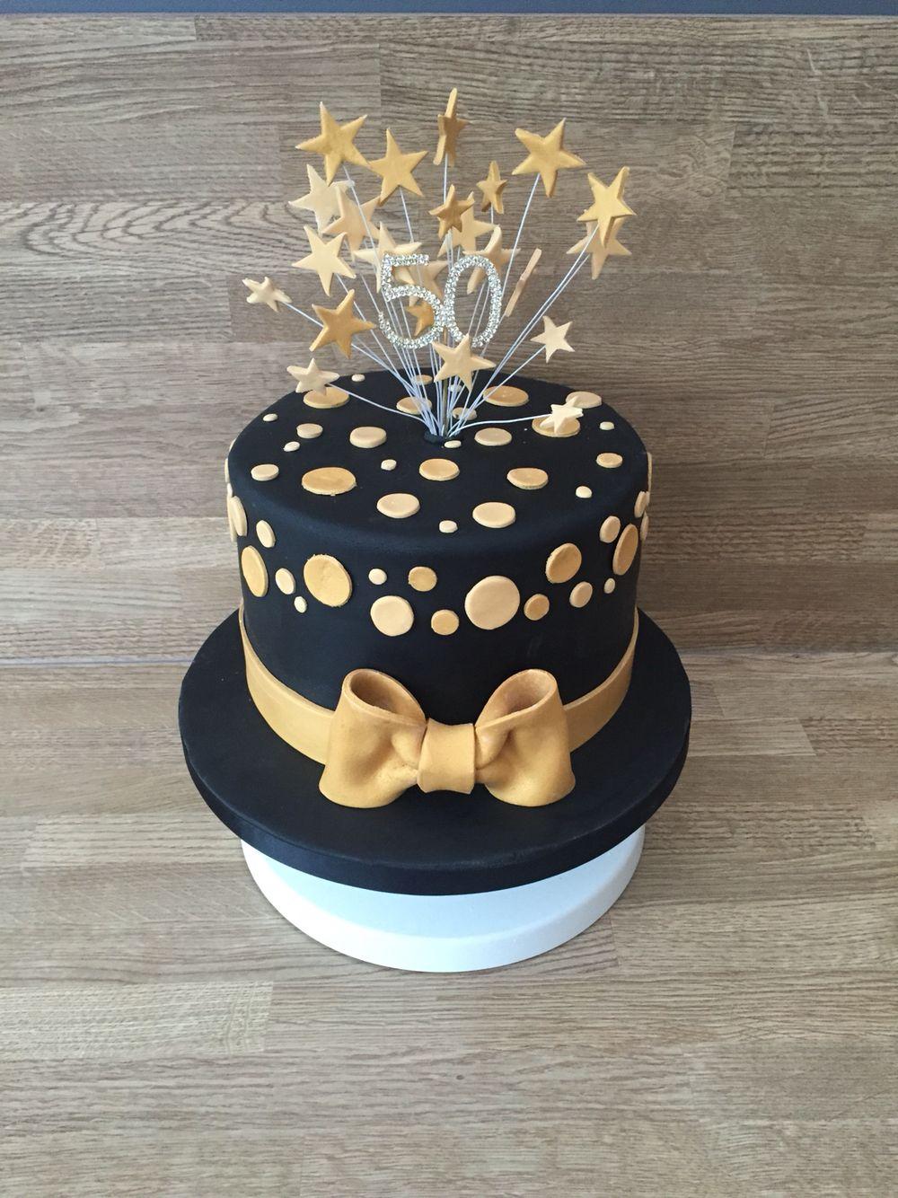 Black And Gold 50th Birthday Cake Him